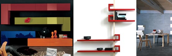 Colorful floating shelves