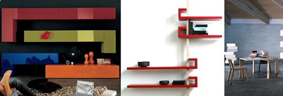 colorful floating shelf