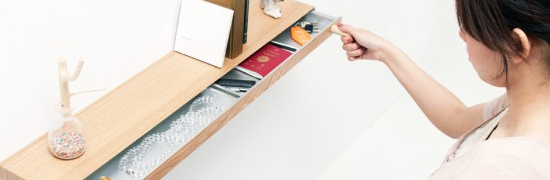 Cool floating shelf with hidden drawer