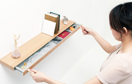 floating shelf with hidden drawer