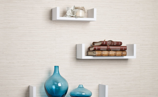 white modern u shaped shelf