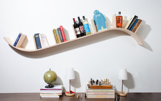 curved floating shelf