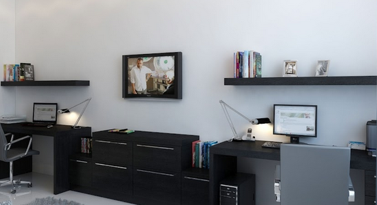 decorating with black floating wall shelves