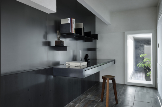 Black floating wall desk