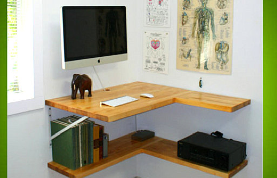 Corner floating wall desk