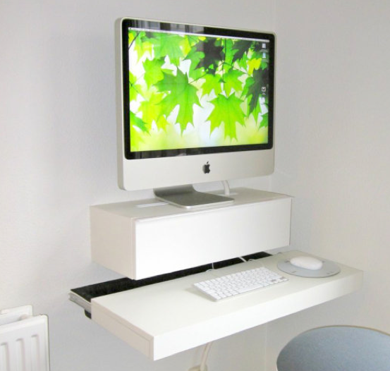 Minimalist floating wall desk