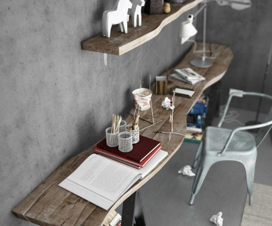 Rustic floating wall desk