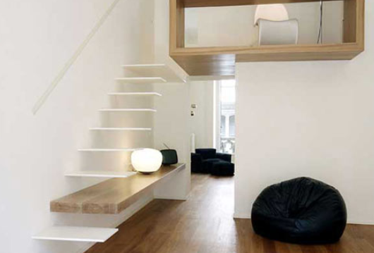 floating stairs in small room