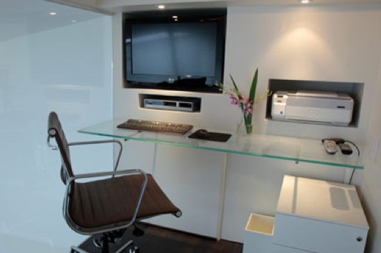 glass floating wall desk