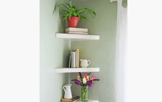 corner triangle floating shelves