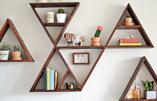 Floating Bookshelves triangle floating shelves ideas to decor your room ← floating shelf