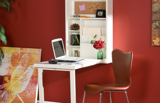 white fold out floating desk